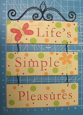 Life's Simple Pleasures Metal Yard Sign Plaque Spring Landscape Plaque Hanging