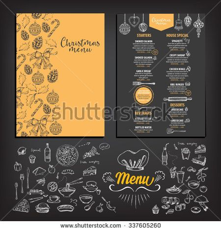 Vector christmas restaurant brochure, menu design Vector holiday - new year brochure template