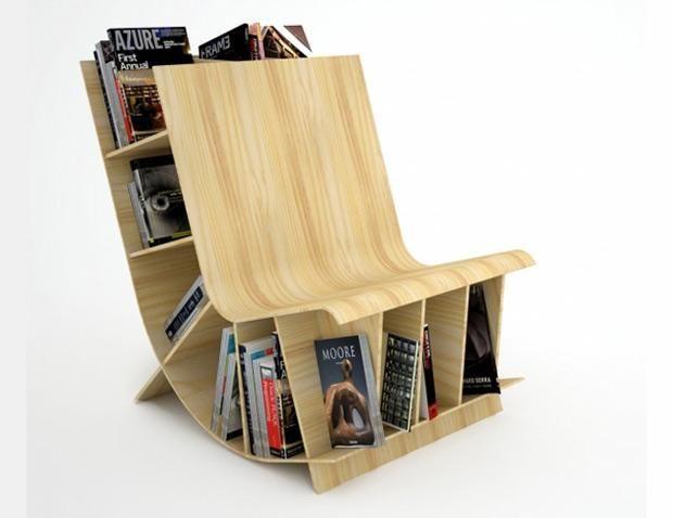 Silla y librero, un mueble con doble uso para ahorrar espacio