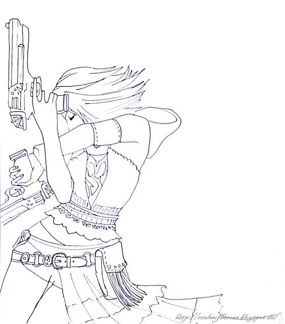 Yuna Line Art Final Fantasy X Coloring Books Coloring Pages