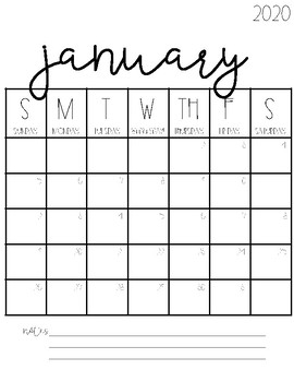 2021 Blank Calendar This FREE pack includes 24 black and white blank calendars from