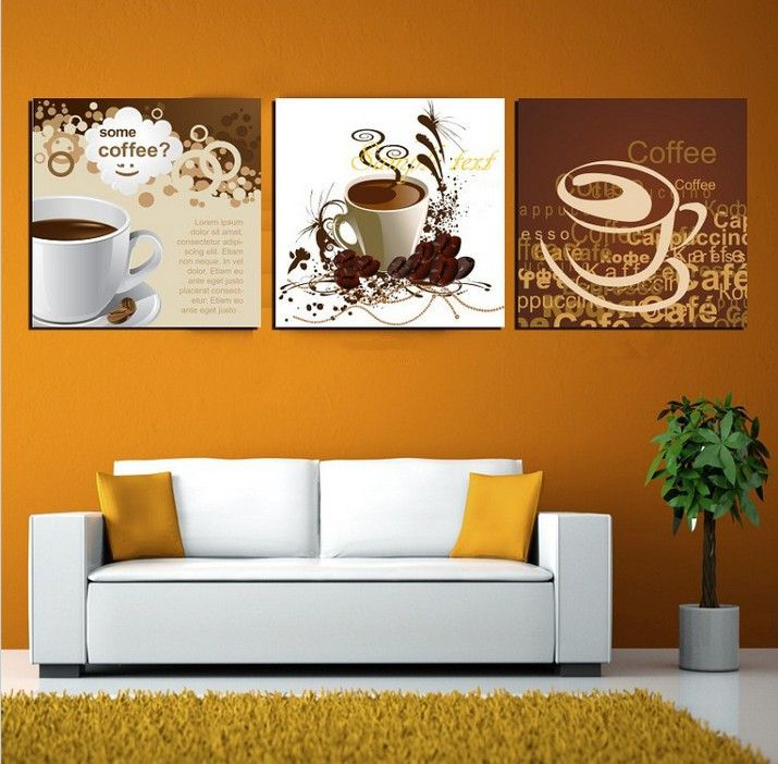 Art Deco Wall Pictures 3 Panel Canvas Art Chinese Painting Coffee Tea Art  Home Decor Modern Pictures