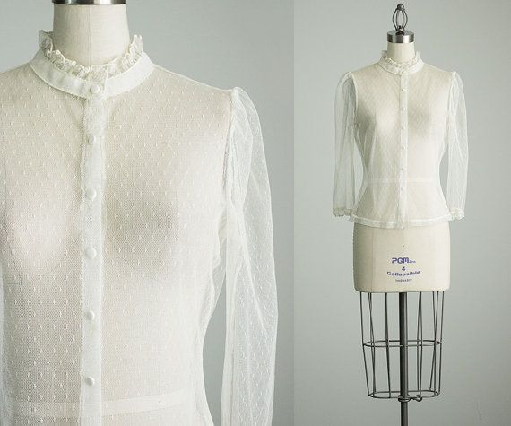 7b3759cd7087b 70s Vintage White Sheer Lace Blouse   Small by decades on Etsy ...