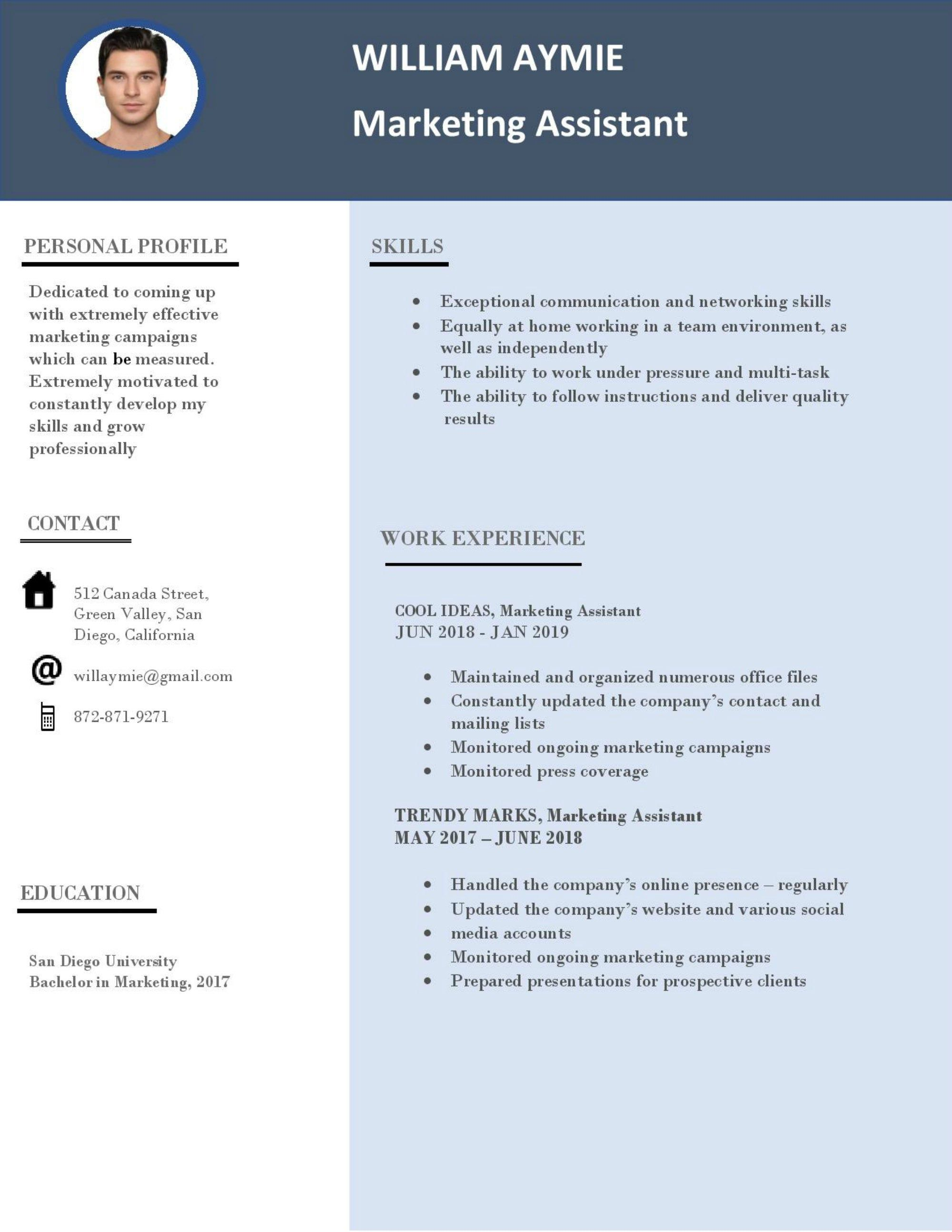 Resume For Marketing Assistant Ms Word Template Resume Cover Letter Minimalist Resume Tem Cover Letter For Resume Minimalist Resume Template Resume Template