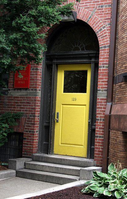 Yellow Door Doors Front Exterior House Colors