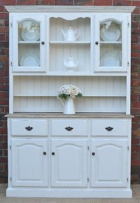 French Provincial Country Farmhouse Buffet And Hutch Sideboard White Pine