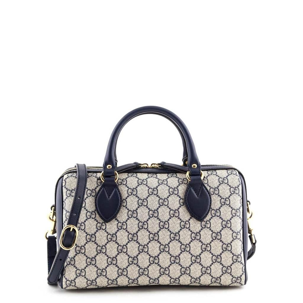 Gucci Navy Gg Supreme Small Top Handle Bag Love That Bag Preowned Authentic Designer Handbags 1350cad Bags Luxury Purses Top Handle Bag