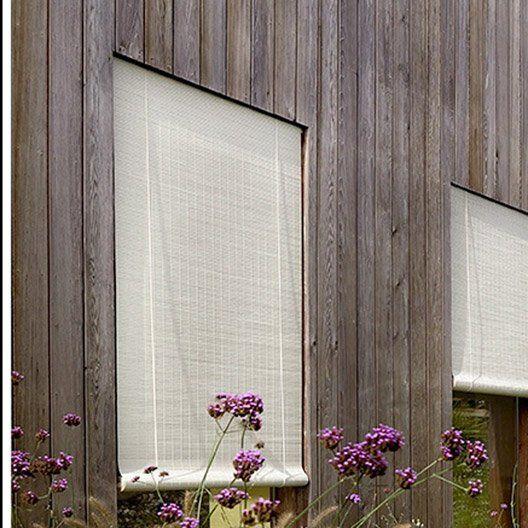Store enrouleur tamisant Bois tissé, brun taupe n°3, 130x220 cm - store bois tisse exterieur