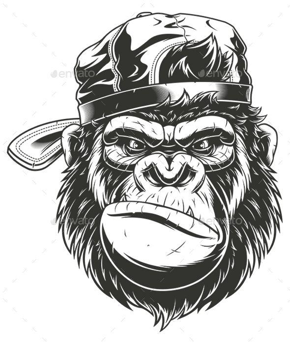 Monkey's Head In A Baseball Cap Vector Graphics Install