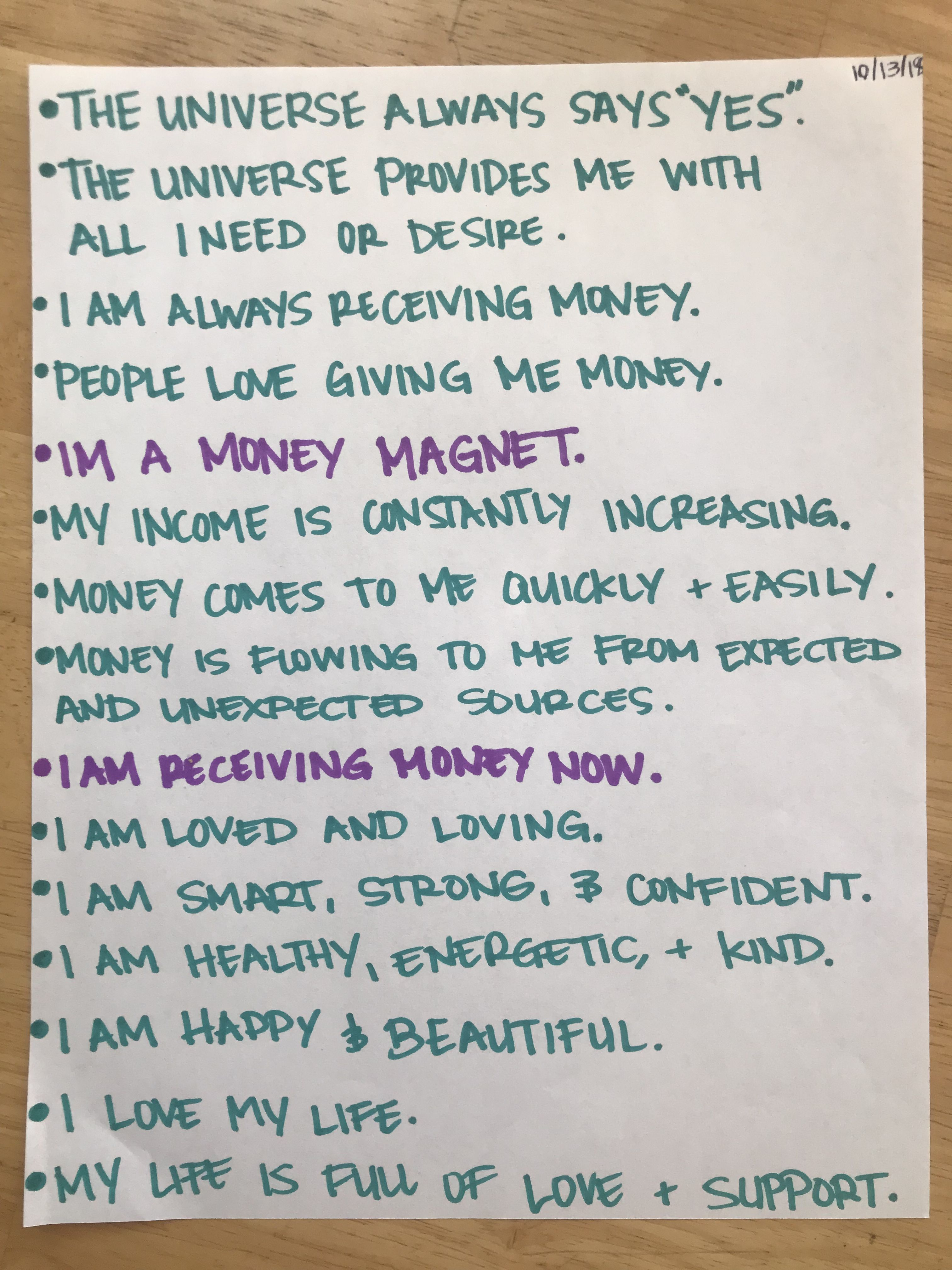 Loa affirmations law of attraction positivity believe