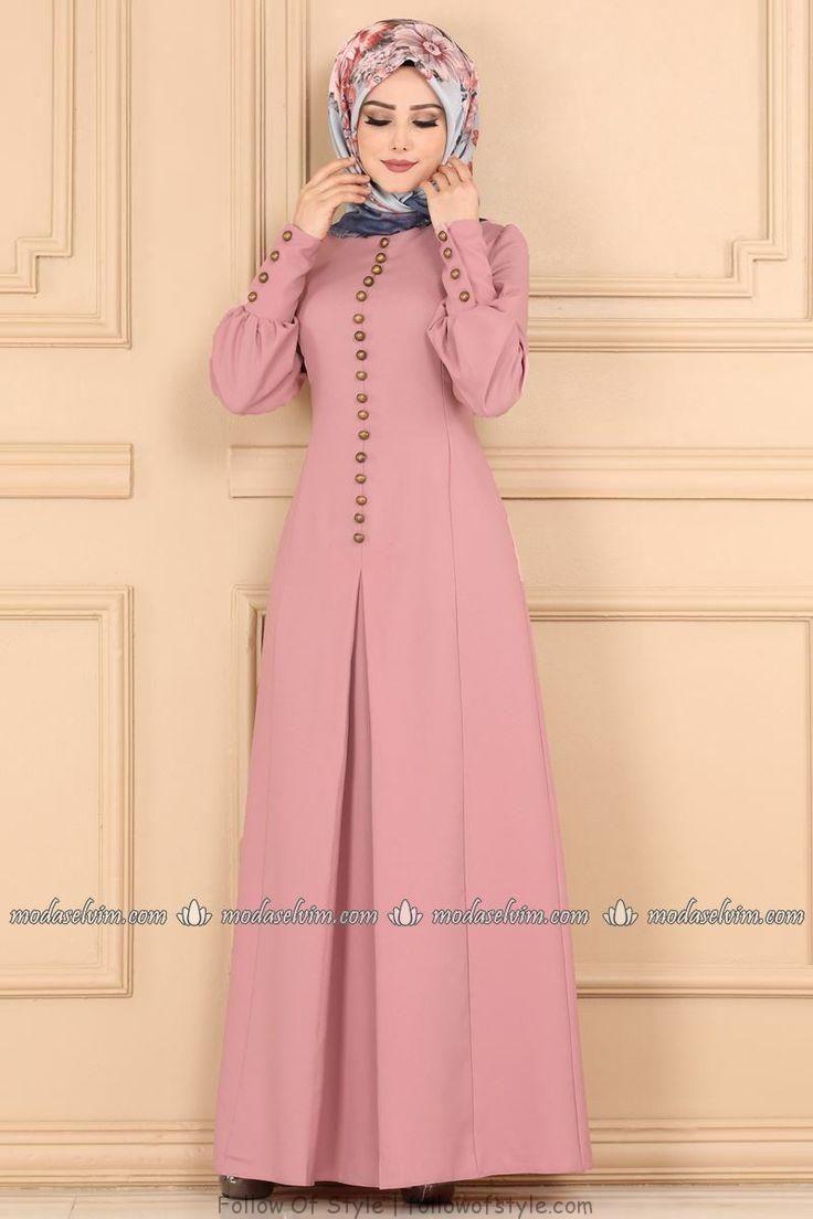 Aksesuar Dugmeli Pileli Elbise Asm2151 Pudra Muslim Fashion Dress Muslim Fashion Muslim Fashion Outfits
