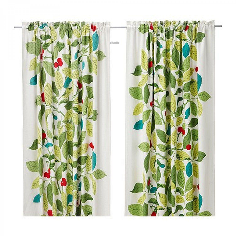 Ikea Stockholm Blad Curtains Drapes Green Leaf Modern Retro Linen