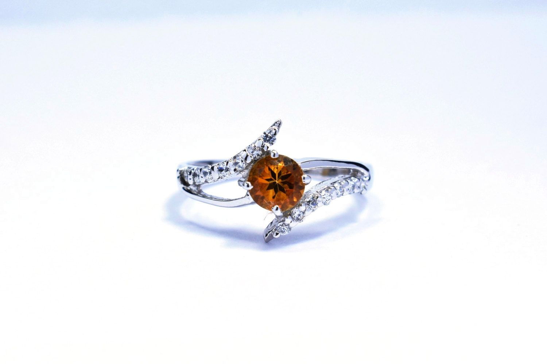 Fine Jewels Size 6 Gem Natural Citrine 5mm Round Silver Ring Girls