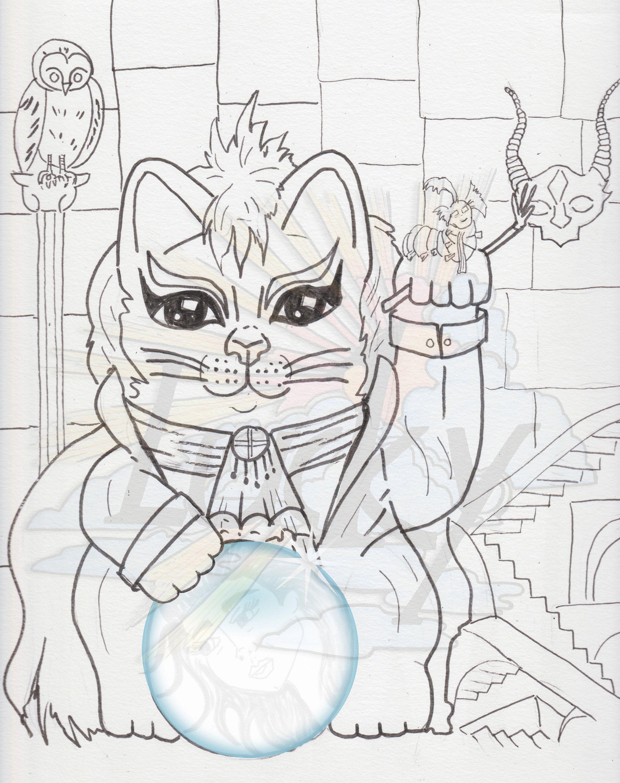 Labyrinth Lucky Cat Maneki Neko Coloring Page Jared Labrynth
