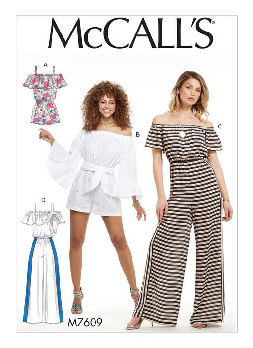 eef5cd0600c McCall s sewing pattern M7609  Misses  Pull-On Off-the-Shoulder Rompers and  Jumpsuits with Elastic Waist and Sash