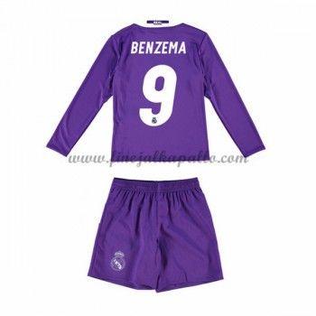 Real Madrid Lasten Jalkapallo Pelipaidat 2016-17 Benzema 9 Vieraspaita Pitkähihainen