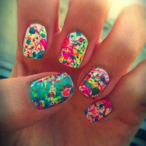 Paint Splatter Nails Hairbeauty Pinterest Tie Dye Nails And