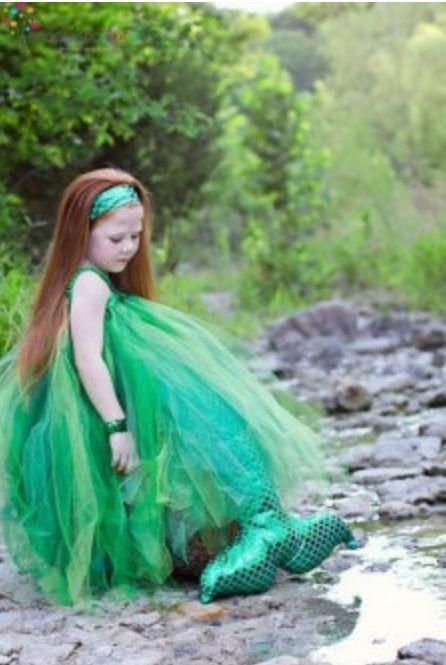 Mermaid poof! Ovi\u0027s all dressed up Pinterest Mermaid - green dress halloween costume ideas