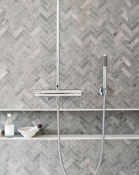 Gray Herringbone Tiles For Master Shower