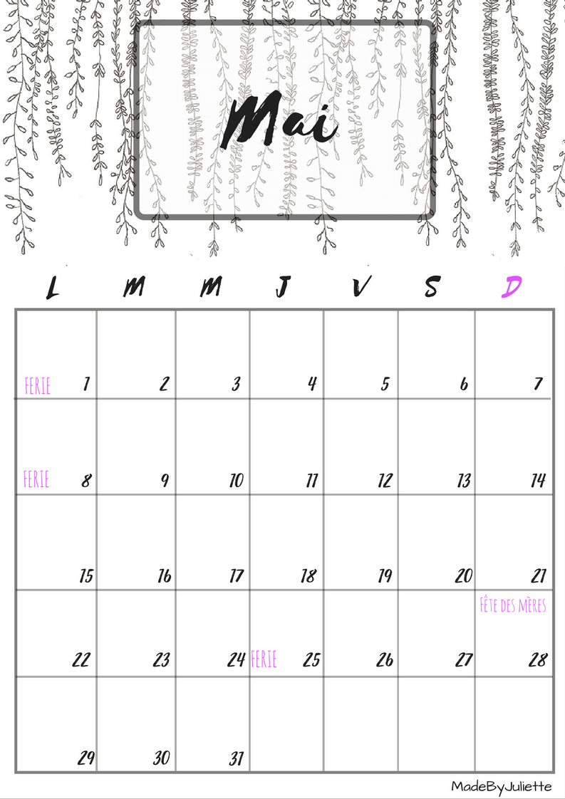 Calendrier mois de mai 2017 avec les jours f ri s bullet journal pinterest calendrier mois - Mois du blanc 2017 ...