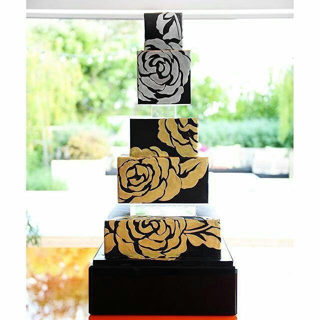 Black, gold, and silver wedding cake. #thebutterend #weddingcake