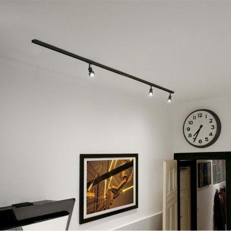 Spots Sur Rail Lampe Puri L2x100 Cm Noir Rampe De Spots Spot Salon Idee Deco Loft