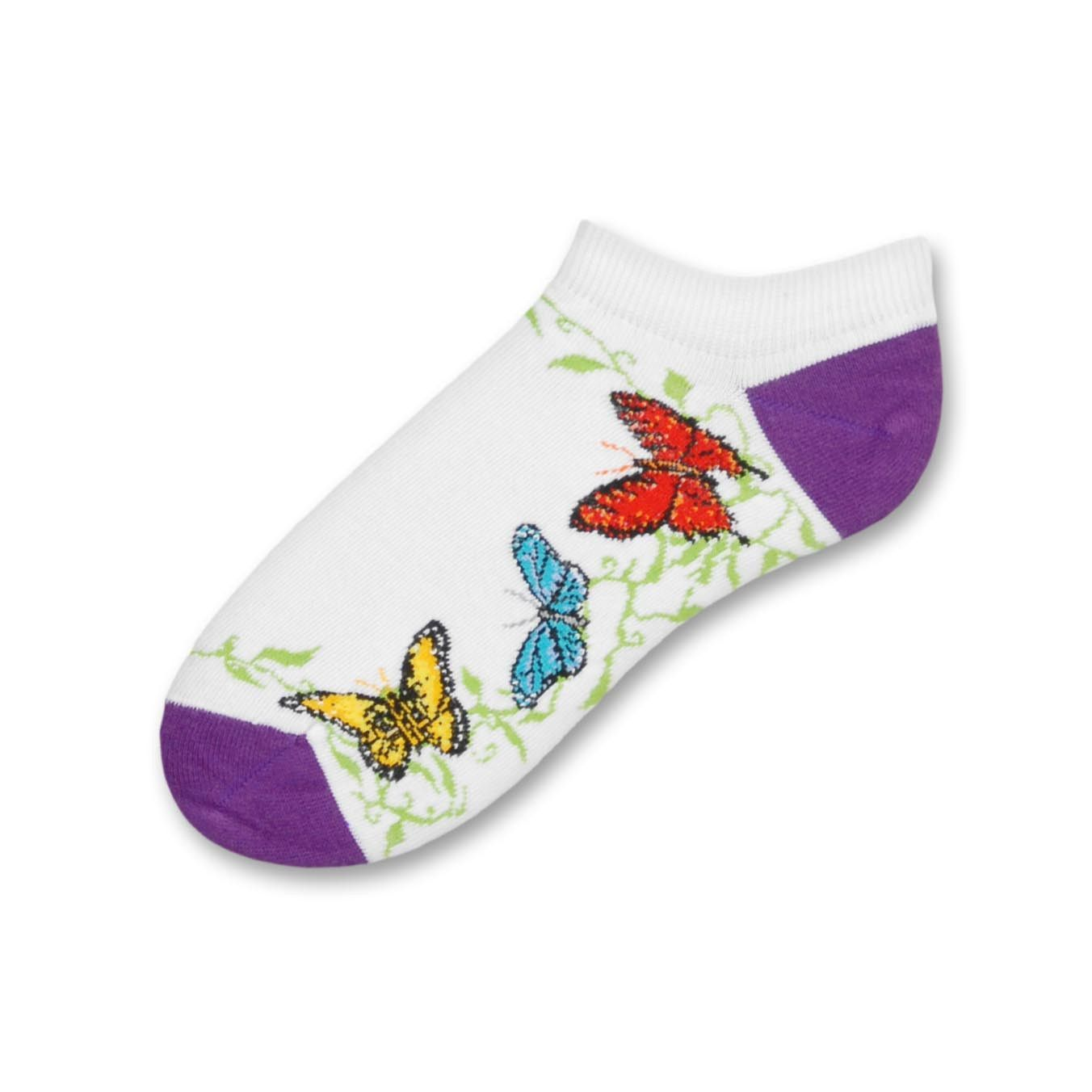 c62dcd3d59 FBF Butterfly Friends Sock is a No Show Thin Style Sock with White  background. The