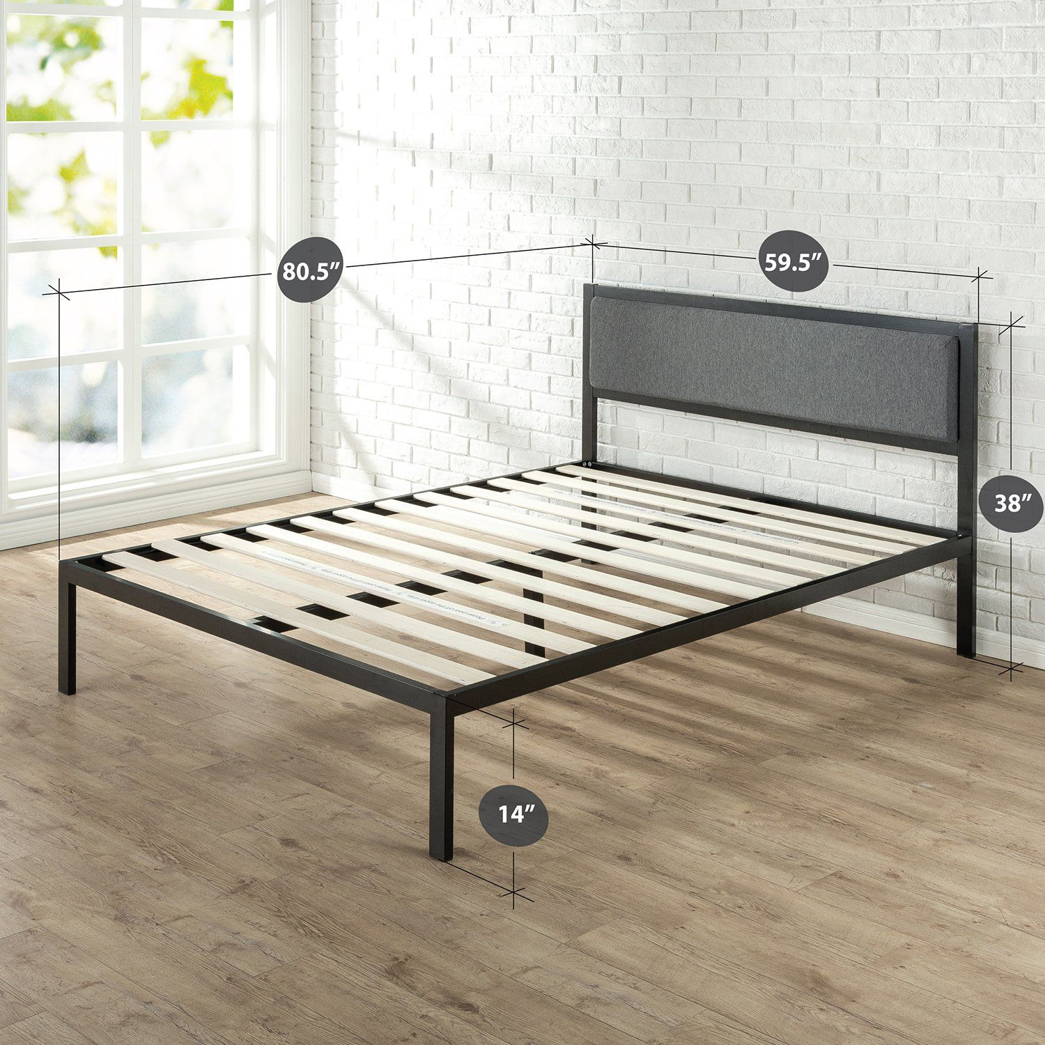 Zinus inch platform metal bed frame with upholstered headboard