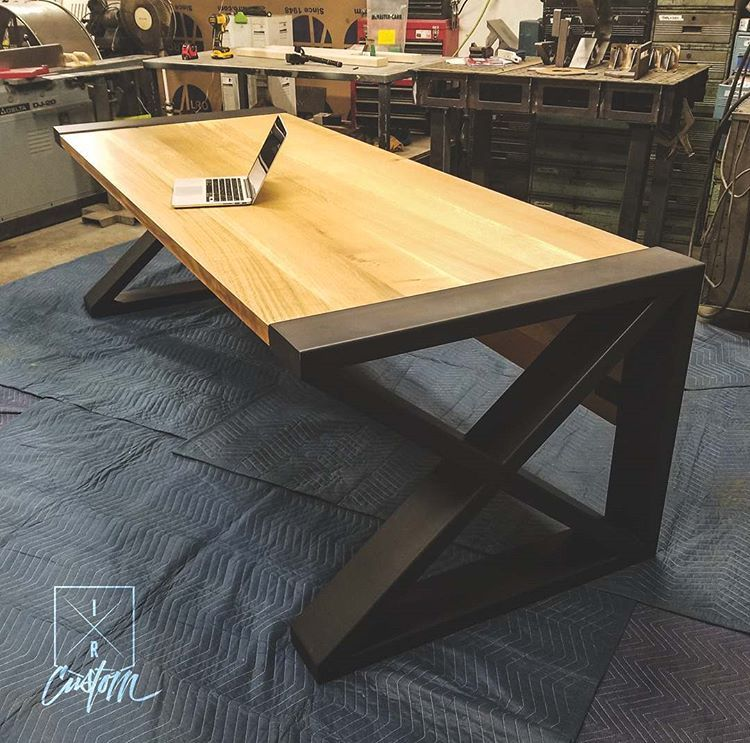 1 4 Sawn White Oak Waterfall Custom 2 X 6 Steel End Caps Is This Your Dream Desk Contact Muebles Estilo Industrial Muebles Escritorio De Oficina Ejecutiva