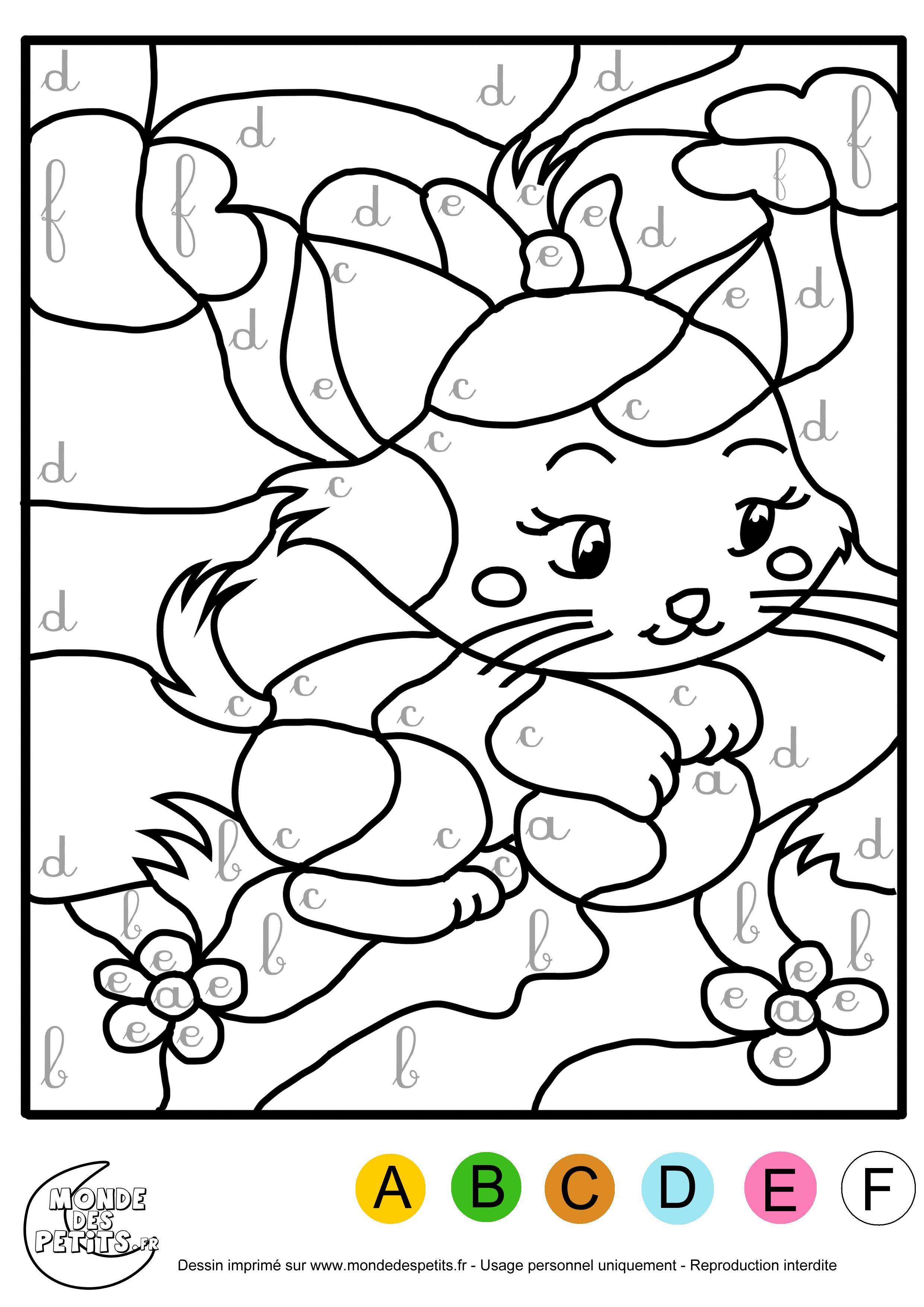 Image result for coloriage magique pour enfants en fran ais color by letter or word fall - Alphabet coloriage ...