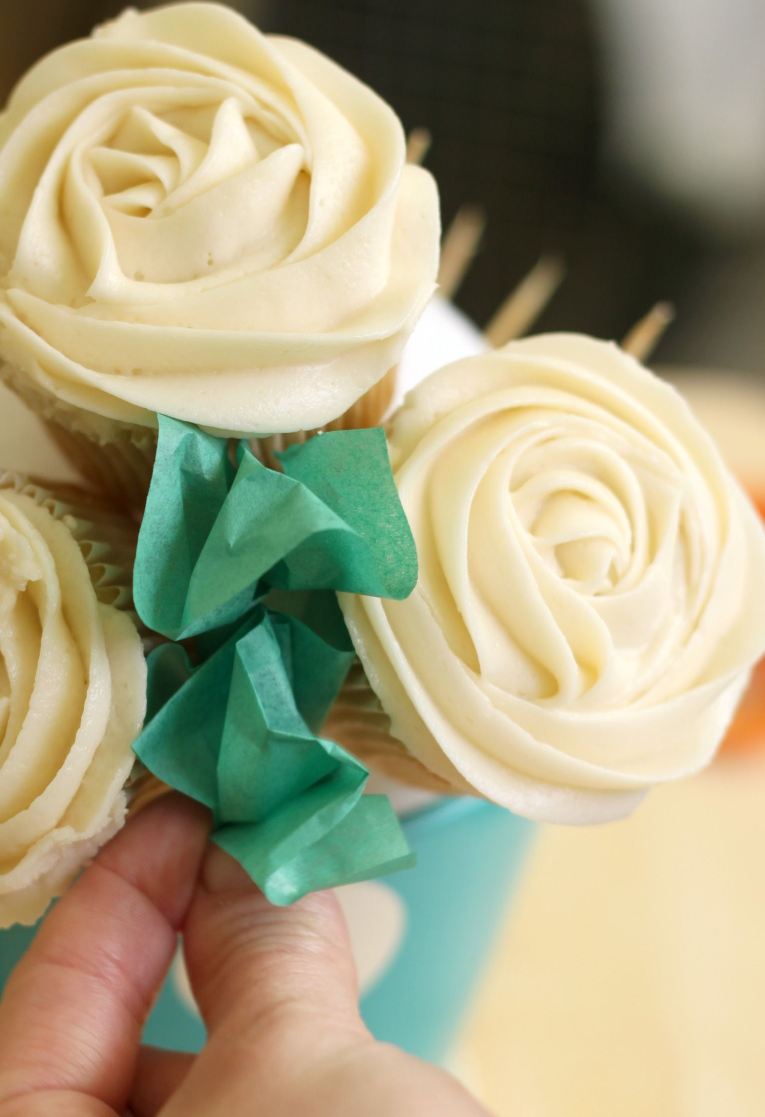 Tape tissue leaves in between rose cupcakes cropped 2   Leaves, Cake ...