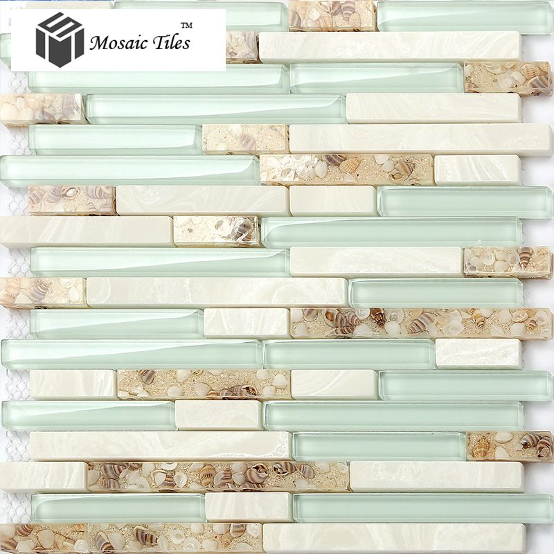tst glass conch beach style mother of pearl shell resin aqua white stone marble tile kitchen - Beach Style Bathroom