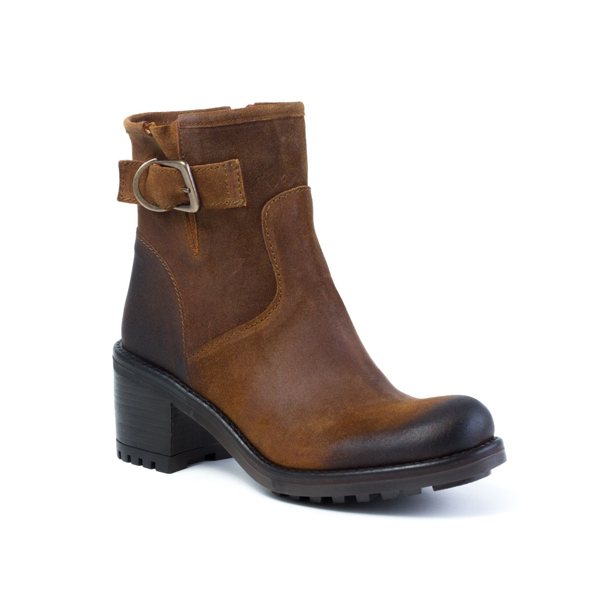 Boots femme croûte de cuir huilé de couleur marron, WUS by E-Cow