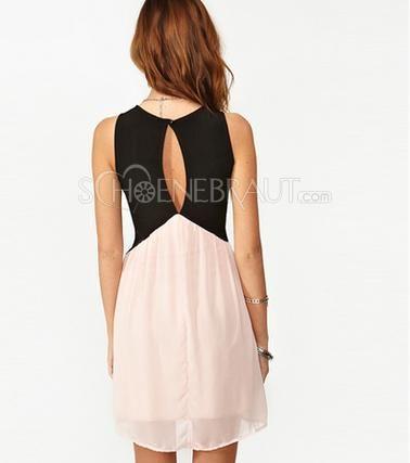 2015 Süße Kontrastfarbe rosa und schwarz Weste Kleid casual style ...