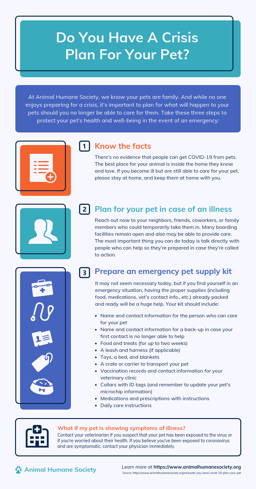 Crisis Plan For Pets Infographic Template In 2020 Animal