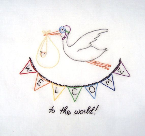 STORK CARRYING BLUE BUNDLE HAND STITCHED HANDMADE NEW BABY CARD