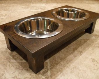 Perro Levantado Alimentador 2 Qt 4 Pulgadas Doble Por Woodinyou Raised Dog Feeder Dog Bowl Holder Dog Feeder