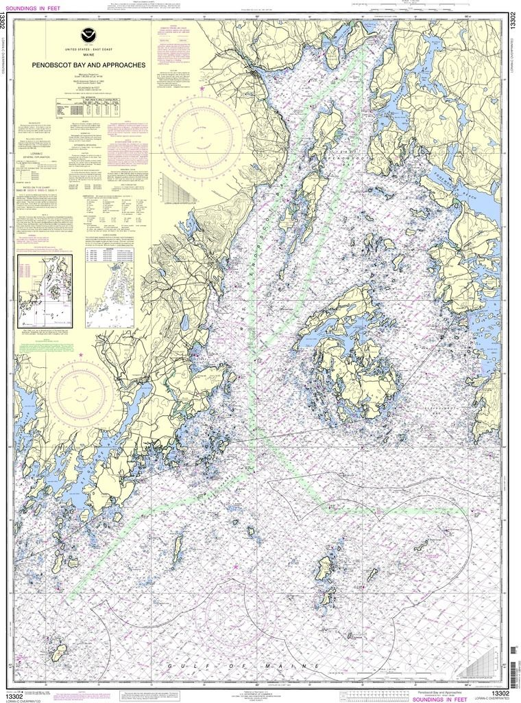 Noaa Nautical Chart 13302 Penobscot Bay And Approaches Nautical Chart Penobscot Navigation Chart