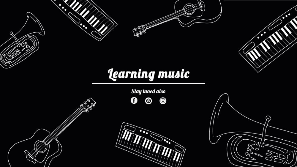 Hand Drawn Music Instruments Design For Youtube Channel Art Template Youtube Channel Art Channel Art Ganpati Invitation Card