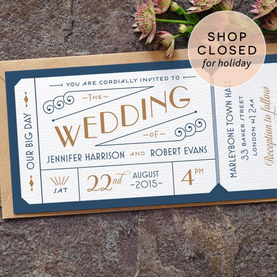 Formal Admission Ticket Wedding Invitation / Art Deco Ticket 1920s Modern Wedding Invite / Navy Blue Gold / Custom Colours / ONE SAMPLE