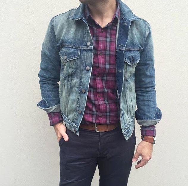 classics // denim jacket, chinos, plaid shirt, menswear ...