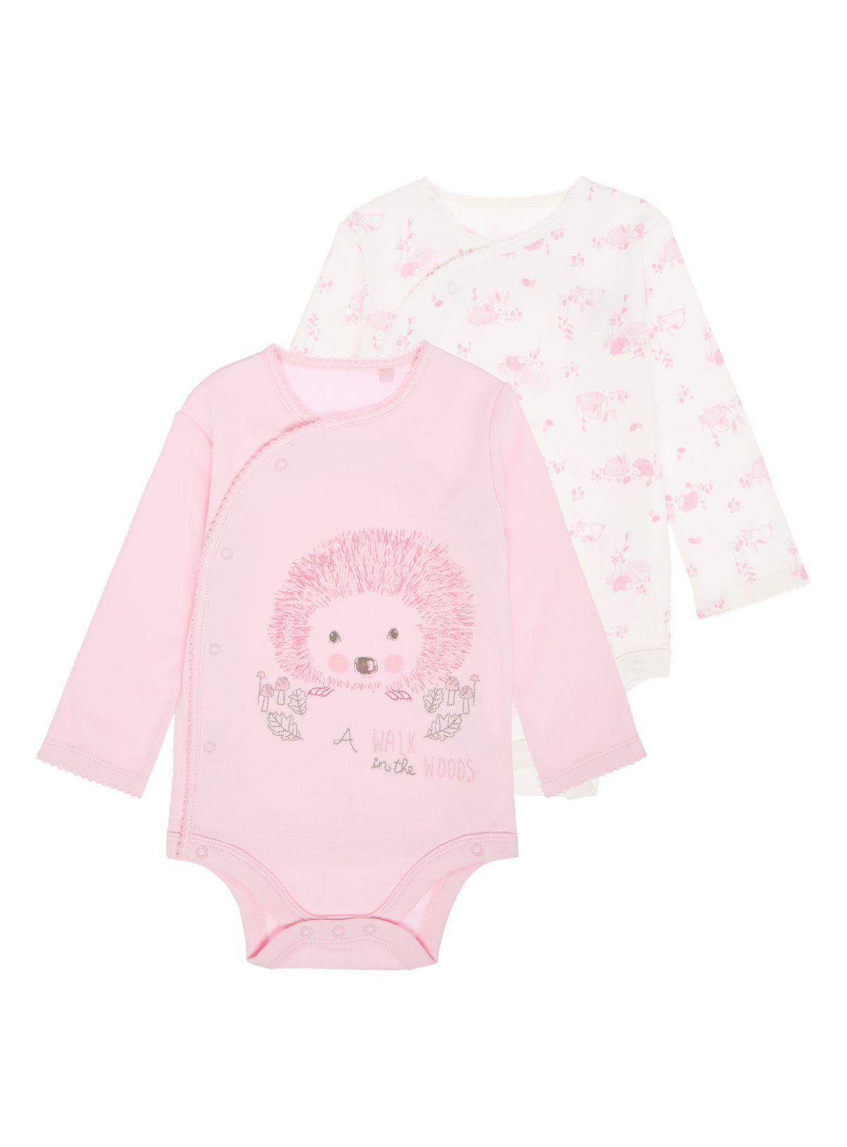 de28cc07300 Baby Girls Pink Hedgehog Bodysuits 2 Pack (0-24 months)