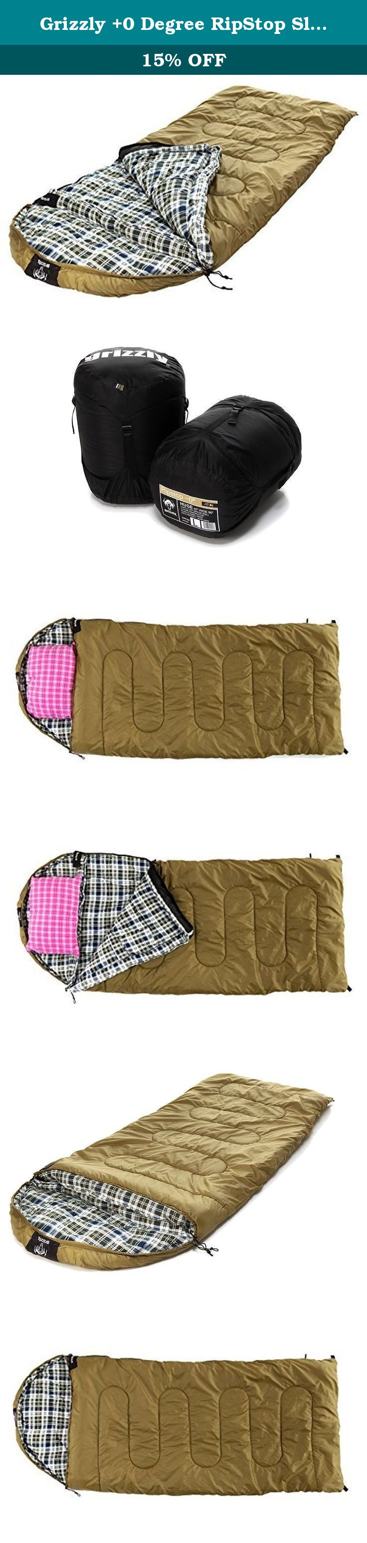 Grizzly +0 Degree RipStop Sleeping Bag (Olive). Comfortable, warm, and durable, this sleeping bag from Grizzly by Black Pine offers a roomy sleeping space for your next camping trip. It's available in three temperature ratings (-25-, 0-, and +25-degree) and in either cotton duck canvas or polyester ripstop exterior fabric. Both the cotton and ripstop models feature two-layer offset construction, ensuring the seams don't overlap to prevent cold spots. They're also designed with big draft...