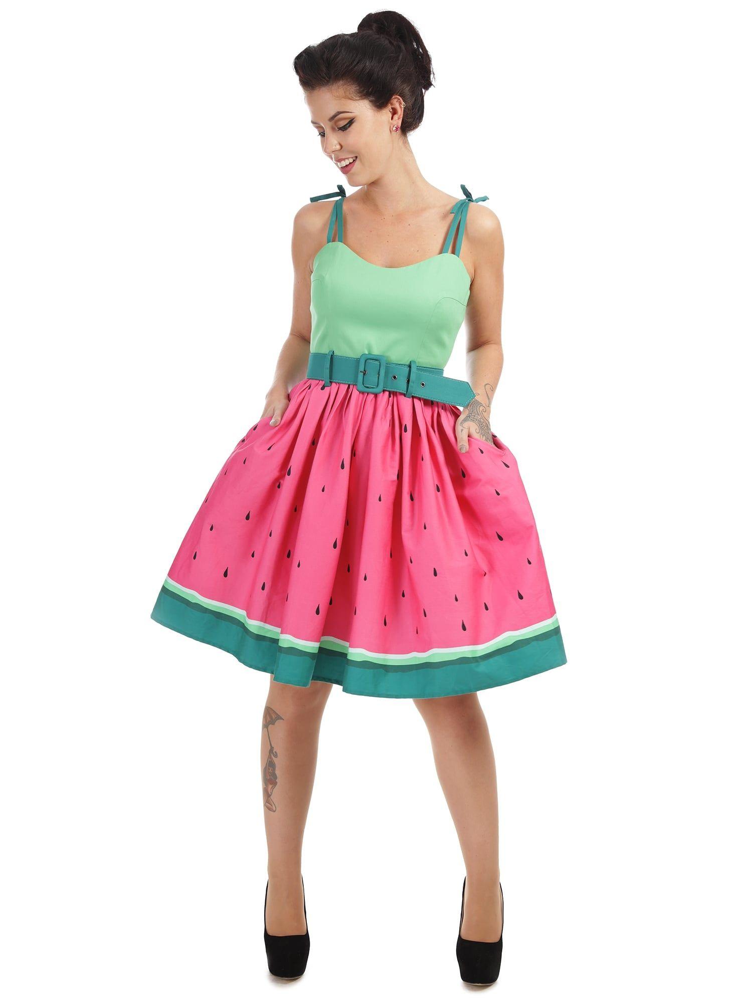 Collectif Mainline Jade Watermelon Swing Dress - Collectif Mainline ...