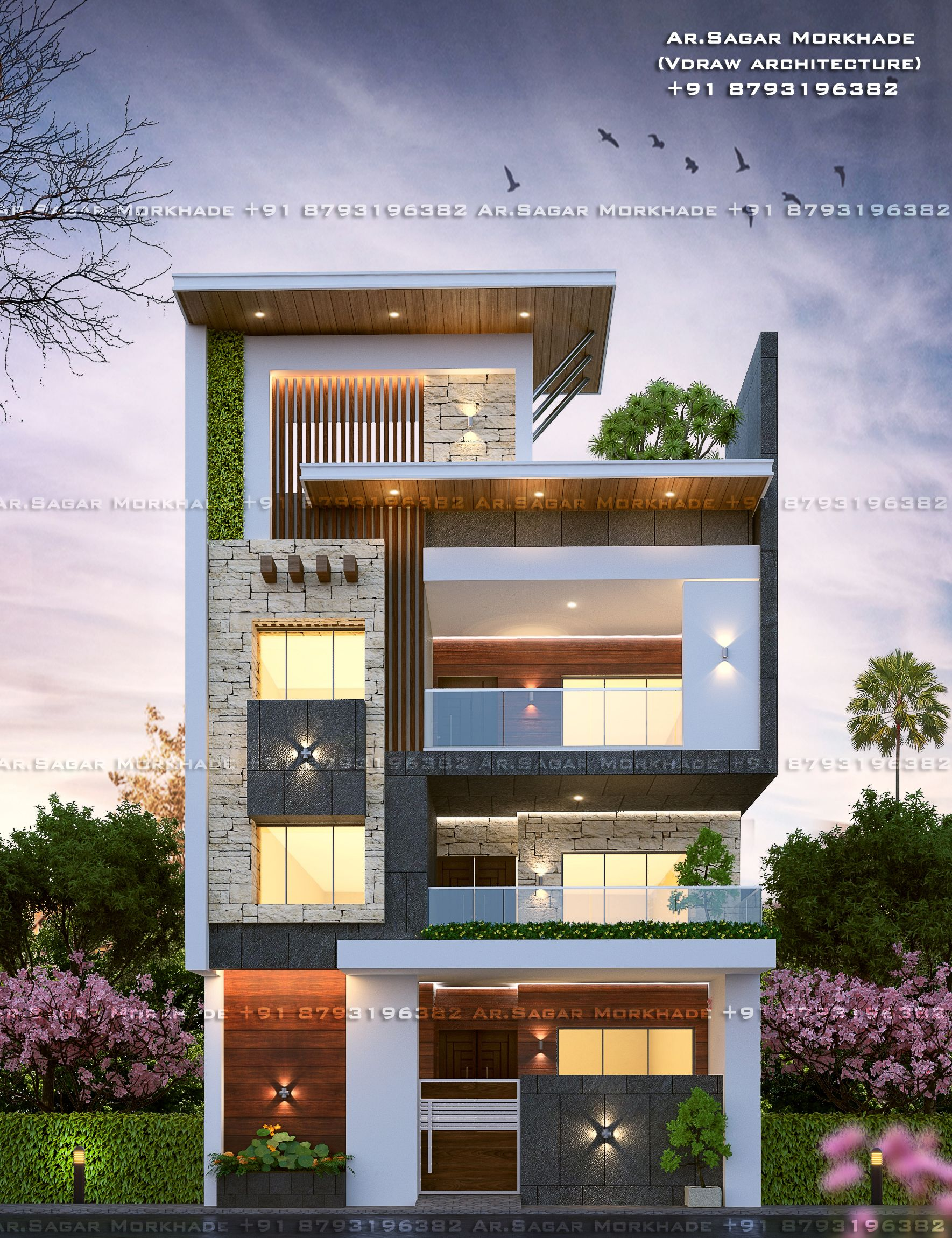 Modern House Bungalow Exterior By Ar Sagar Morkhade Vdraw Architecture 91 8793196382: #Contemporary#Modern #Residential #House #bungalow#Modern Architecture #Exterior B…