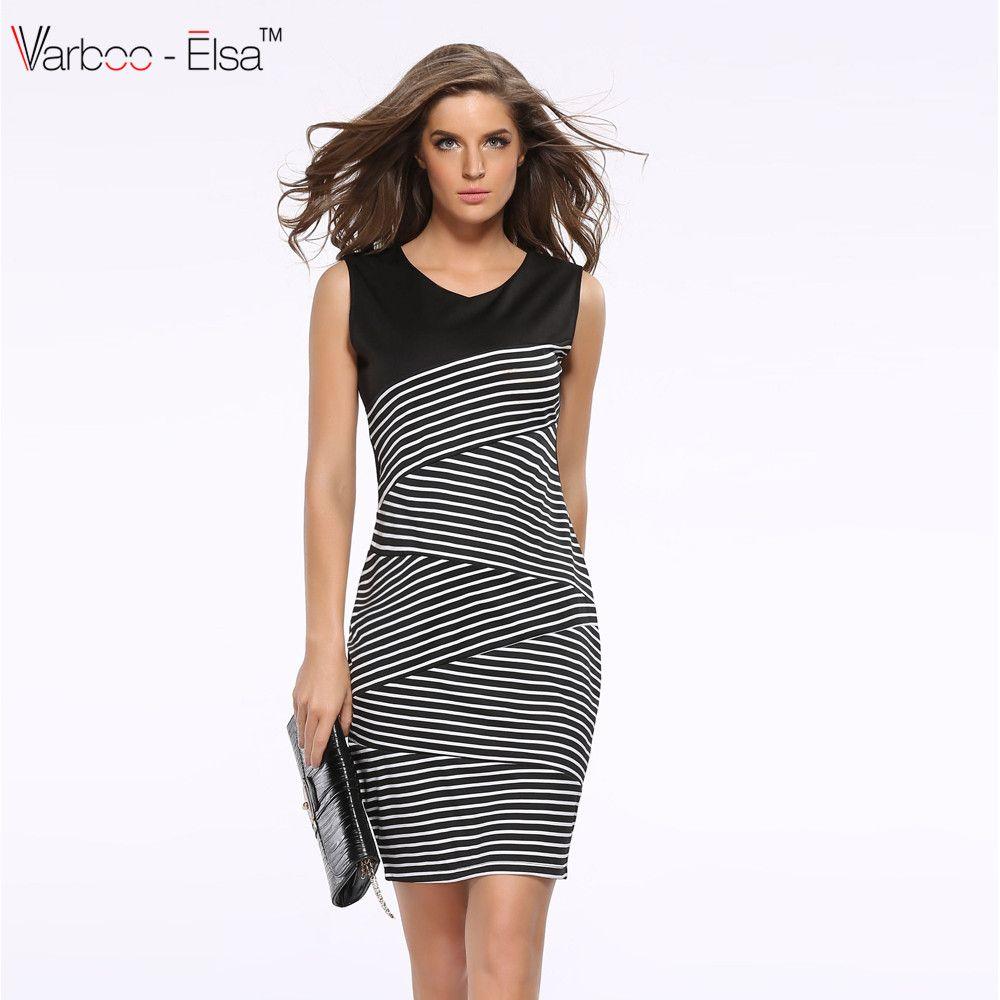 86acdc64e9cf Sexy Sleeveless Office Dress Pencil Patchwork Stripe 2017 New Summer Dress  Women Dresses V-Neck Slim Midi Dress Work Plus Size