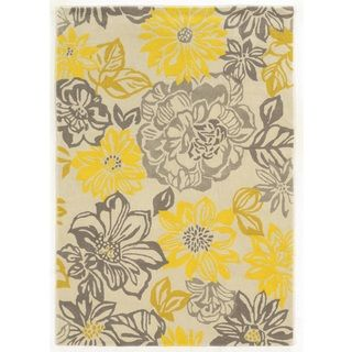 @Overstock.com   Trio Collection Floral Grey/ Yellow Area Rug (5u0027