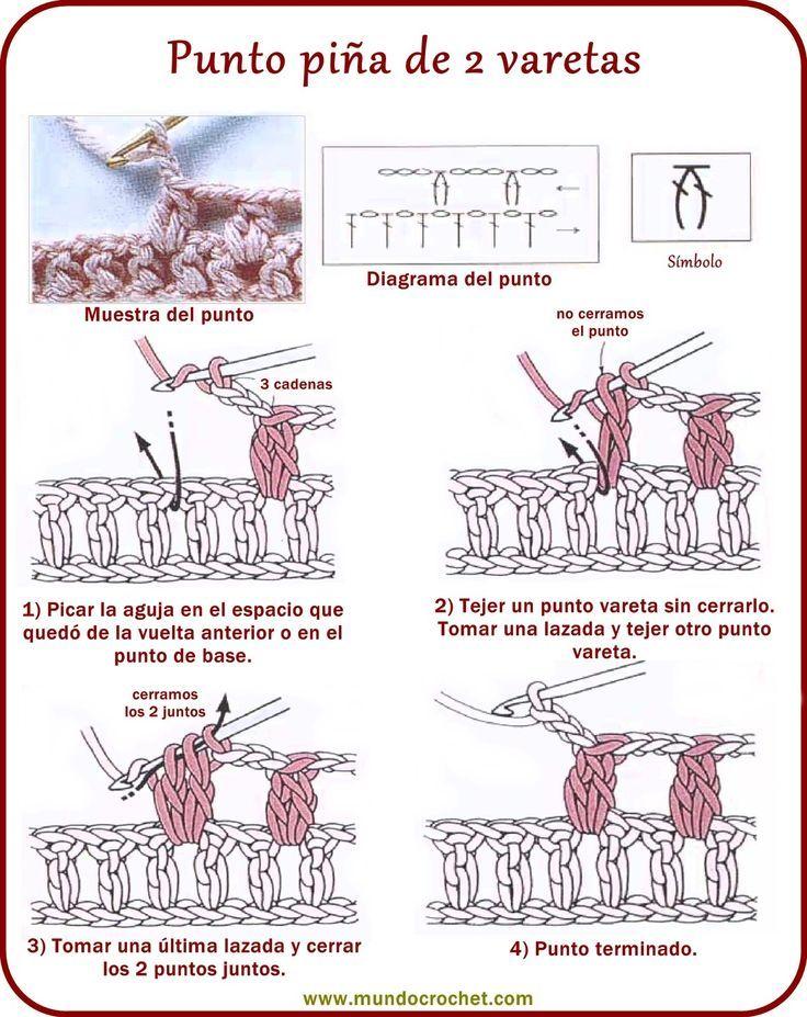 punto piña de 2 varetas | ganchillo | Crochet, Crochet stitches y ...