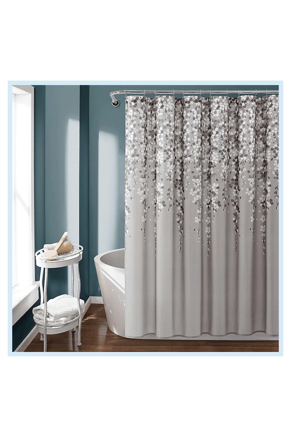 Lush Decor Shower Curtain In Gray In 2020 Flower Shower Curtain