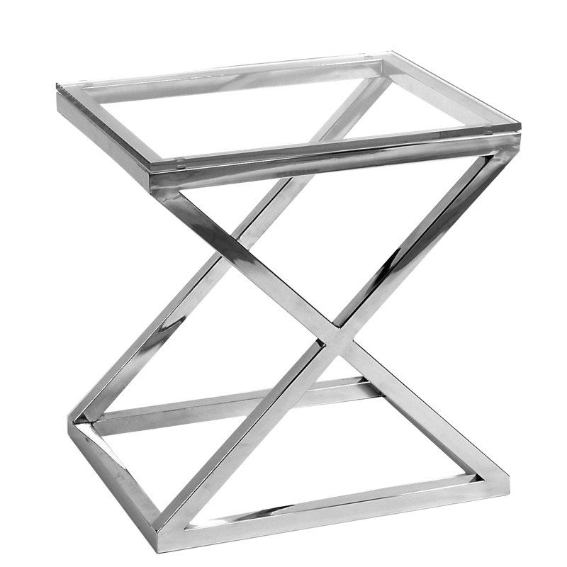 Criss Cross Glass Side Table Glass Side Tables Steel Table
